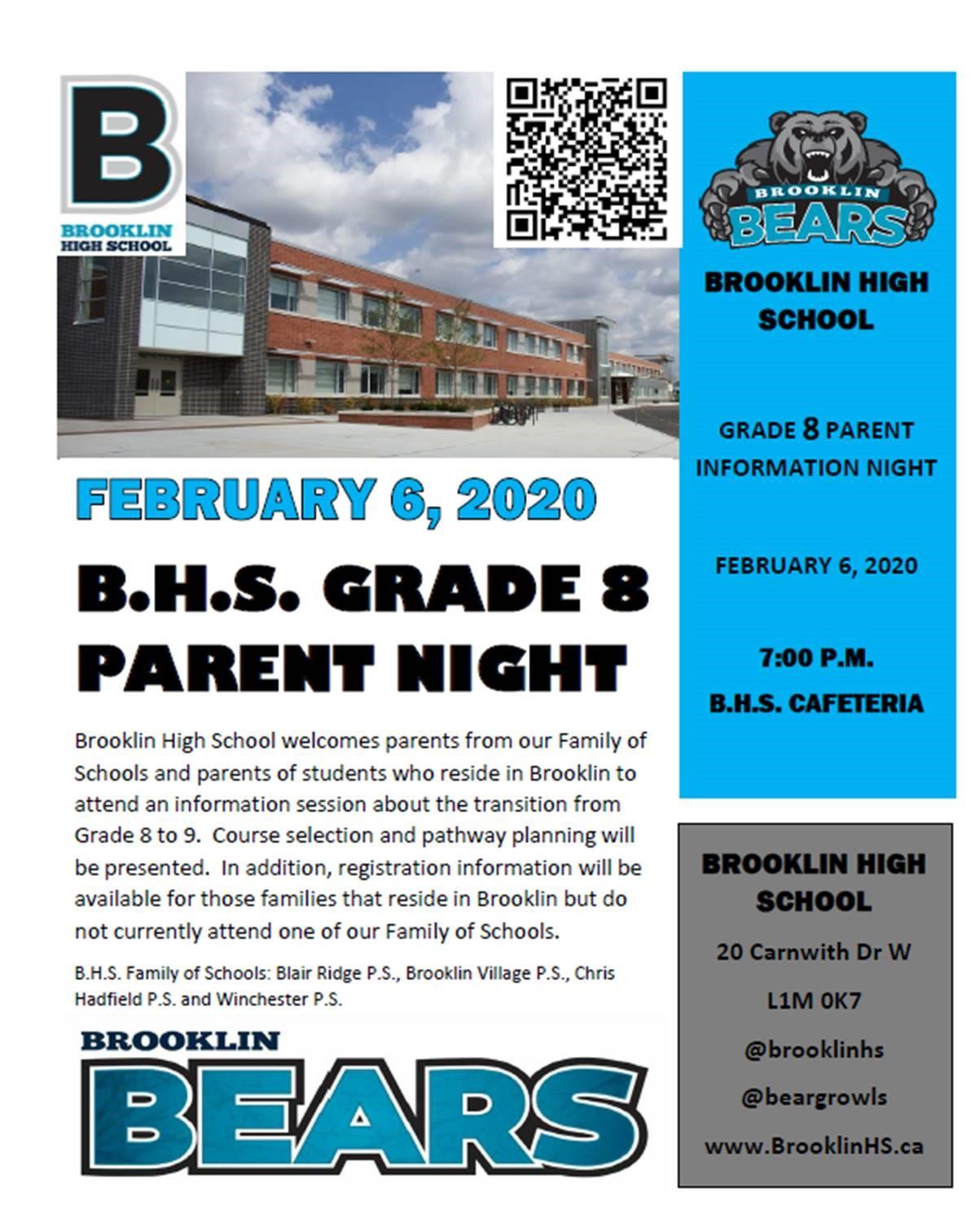 Grade 8 Parent Info Night