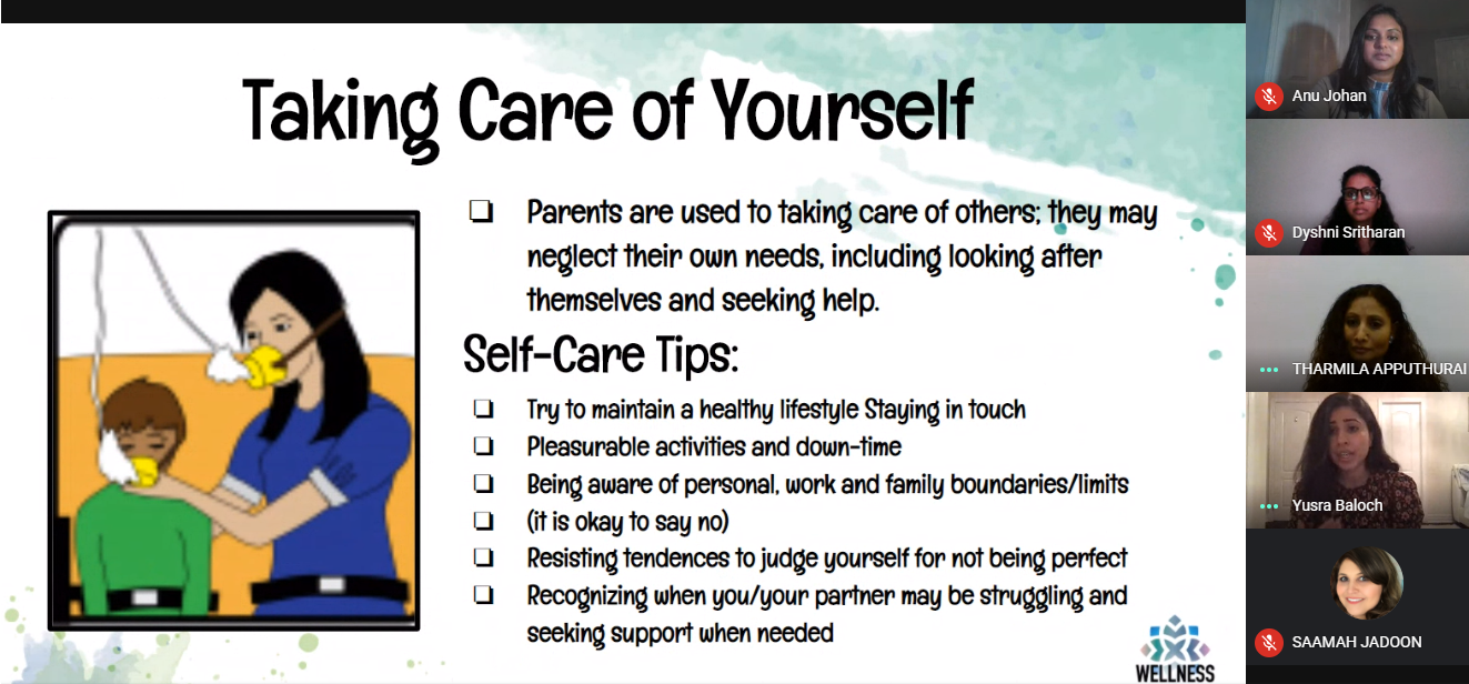 Yusra Baloch, therapist and clinical social worker at Wellness Care Counselling, shared helpful tips for taking care of yourself, children and youth during the Wellness Wednesday event on November 25.